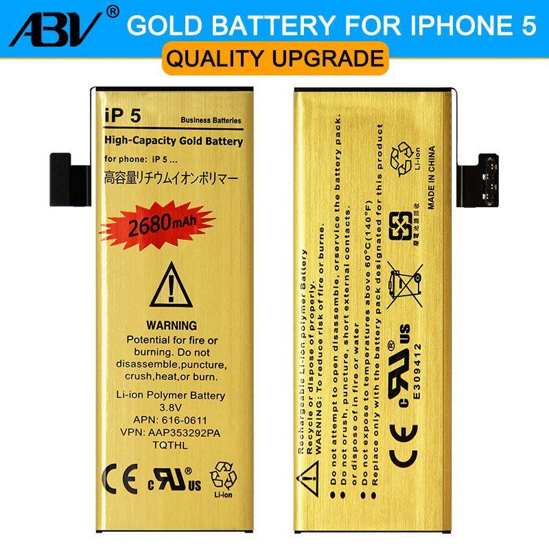 Batterie de téléphone portable d'origine ABV bonne qualité bateria ip5G doré pour Apple iphone 5 iphone 5 5G batterie 2019 nouveau