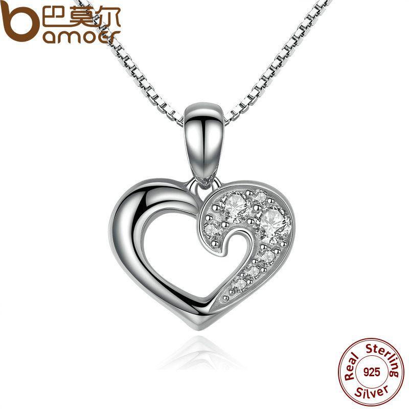 BAMOER 925 Sterling Silver Romantic Silver Heart Pendant Necklace for Women Good Quality Fine Jewelry Kolye SCN028
