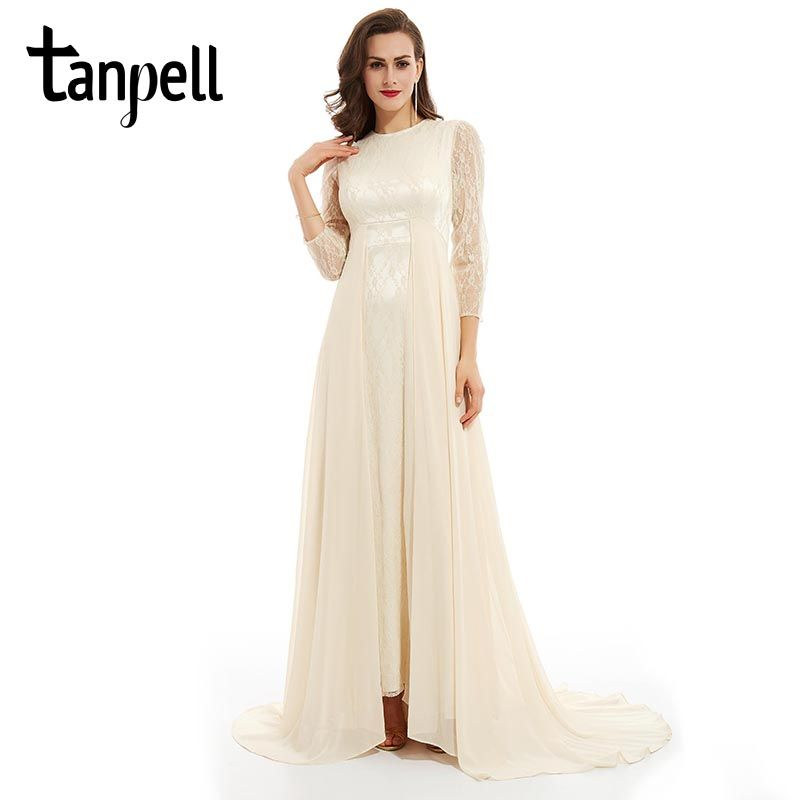 Tanpell lace evening dress cheap white scoop a line floor length dress women prom sweep train long sleeves formal evening dress