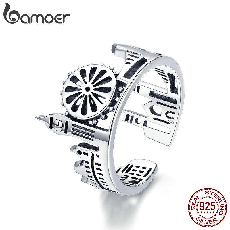 BAMOER Hohe Qualität 925 Sterling Silber London City Finger Ring Britischen Gebäude Ringe für Frauen Cocktail Hochzeit Schmuck SCR474