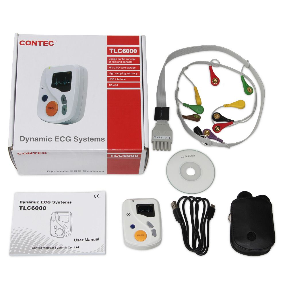 Contec Manufacturer Shipping TLC6000 Dynamic 12 Lead ECG Holter Systems,48 Hours Recorder, Recorder & Analysis Software