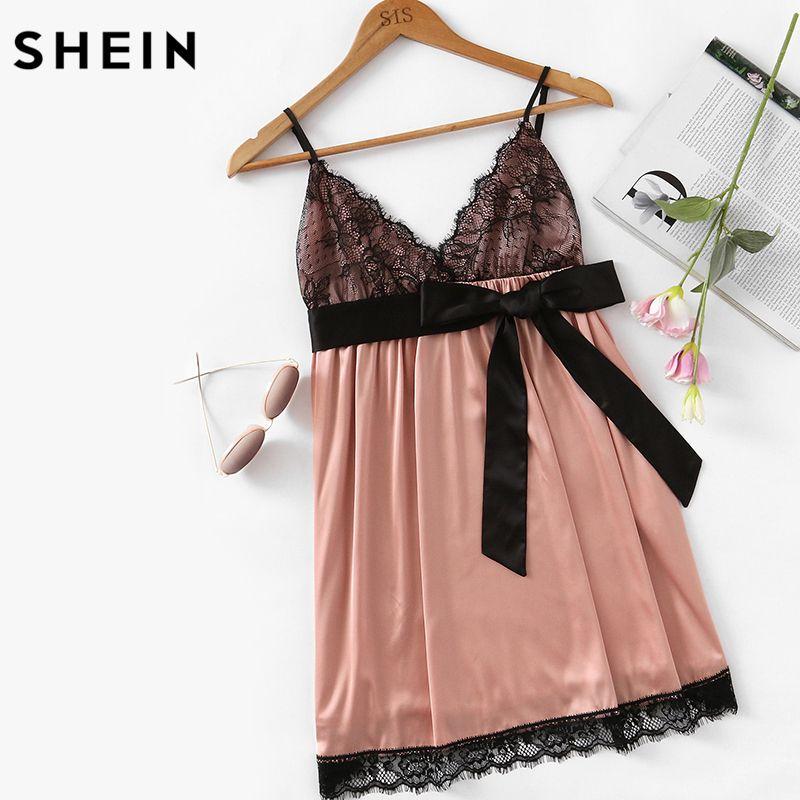 SHEIN Eyelash Lace Detail Bow Waist Nightdress Sleepwear Women Spaghetti Strap V Neck Sleeveless Sexy Sleepwear Dresses