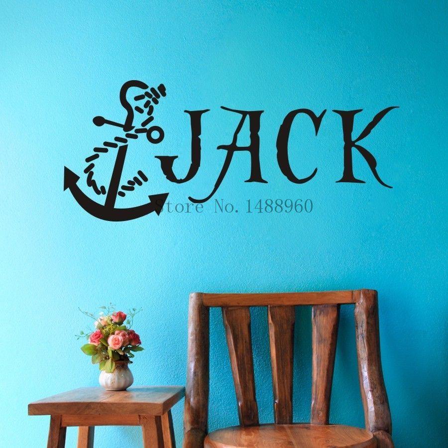 E79 ancre nautique Pirate nom personnalisé sticker mural stickers muraux garçons enfants chambre mur Art personnalisé nom client décoration