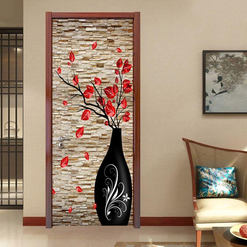 3D стерео ваза кирпичные стены Бумага Гостиная Спальня двери Украшение Фреска Стикеры ПВХ Водонепроницаемый самоклеящиеся Бумага