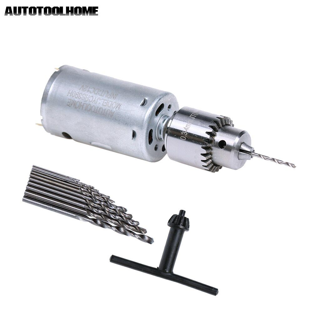 DC 12V Electric <font><b>Motor</b></font> Small PCB Hand Drill Press Drilling Compact Set with 10PC 0.5-3mm Twist Bits 0.3-4mm JTO Keyless Chuck
