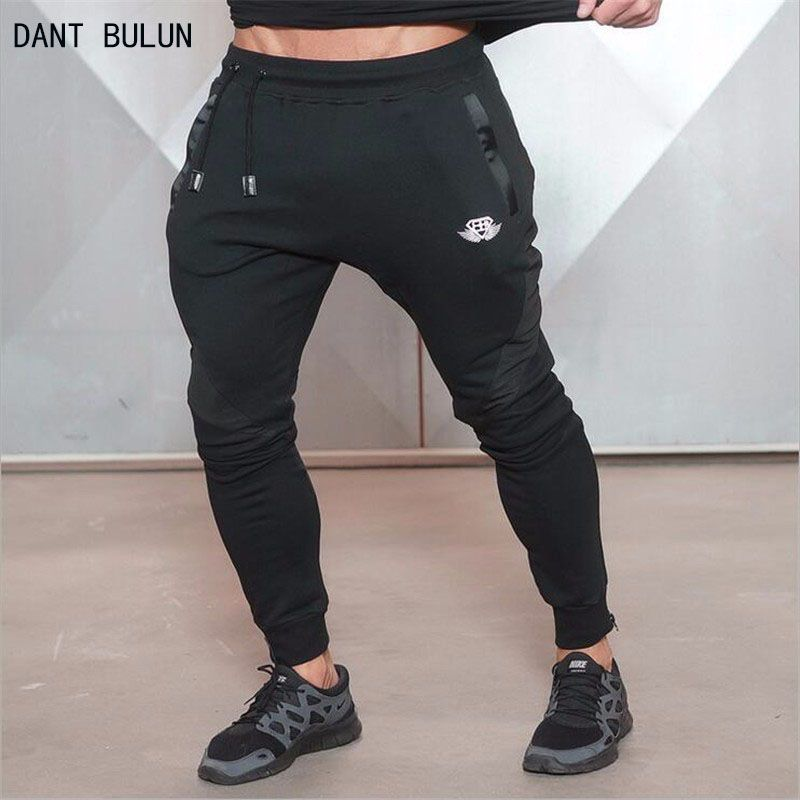 DANT BULUN Halloween 2017 new Gold Medal Fitness pants stretch cotton mens fitness pants pants body engineers Jogger Fitness