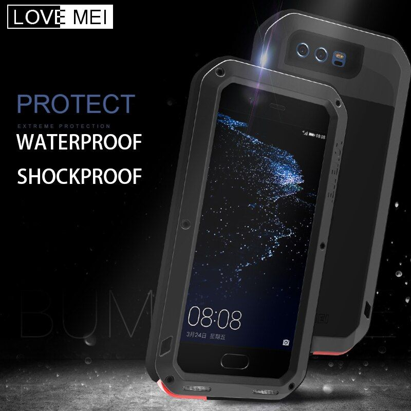 LOVE MEI Waterproof Shockproof Aluminum Metal Armor Case For Huawei P10 P20 Powerful Heavy Duty Cover for P10 Plus P20 Pro