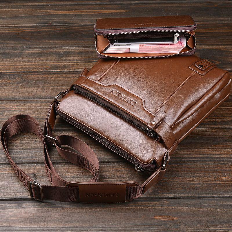 LEINASUN Brand Business shoulder bag Casual men bag crossbody Travel bag Bolas Masculina fashion Small square messenger handbags