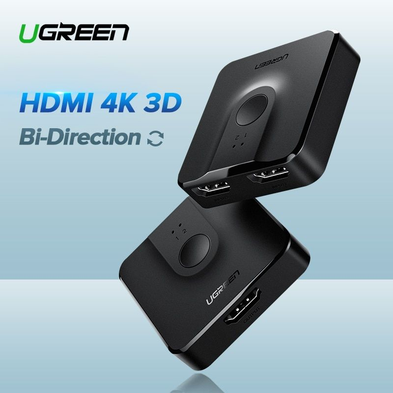 Ugreen HDMI Switch Bi-Direction 4K HDMI Switcher 2 in 1 out HDMI Splitter 1x2/2x1 Adapter out Converter for PS4/3 TV Box