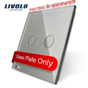 Livolo Luxe Gris Perle Cristal En Verre, 80mm * 80mm, standard de L'UE, unique En Verre Panneau Pour 2 Gang Mur Tactile Interrupteur, VL-C7-C2-15