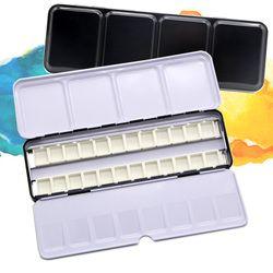 Vide Aquarelle Peintures Boîtes Boîte Palette De Stockage De Peinture avec 6/12/24 Pcs Casseroles Complète et 12/24/48 Demi Godets Pour Art Peinture