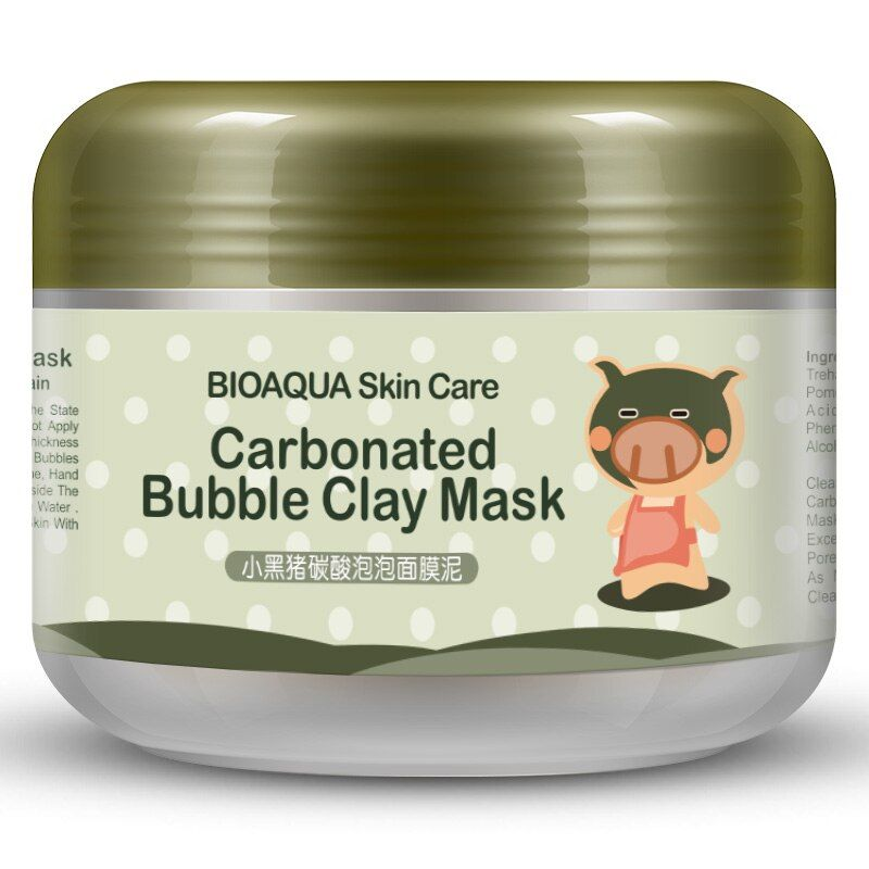BIOAQUA Kawaii Black Pig Carbonated Bubble Clay Mask Winter Deep Cleaning Moisturizing Skin Care