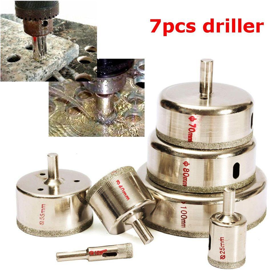 7Pcs/Set Metal Diamond Coated Core Hole Tile Marble Glass Saw Tilling Drill Bit Set 10-100mm Hot Sale