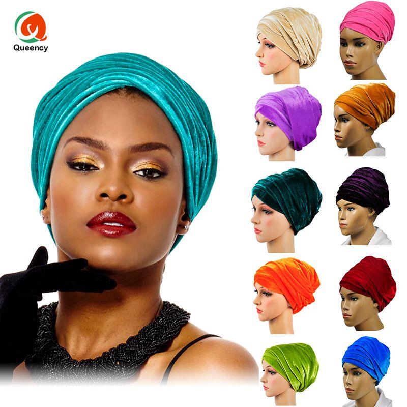 HQT02 Haute Quantité Inde Musulman Caps Pour Le Mariage De Partie Africaine Couvre Doux Velours Turban Écharpe Head Wrap Femmes Headtie