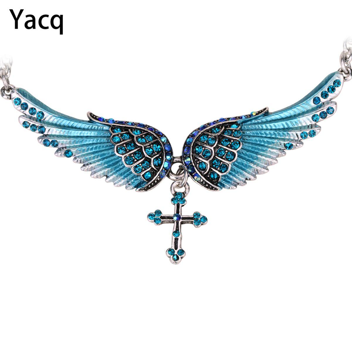 YACQ Ange Aile Croix Collier Ras Du Cou Gardien Femmes Motard Bijoux En Cristal Cadeaux Sa Fille Argent Couleur NC01 Dropshipping (18 + 2)