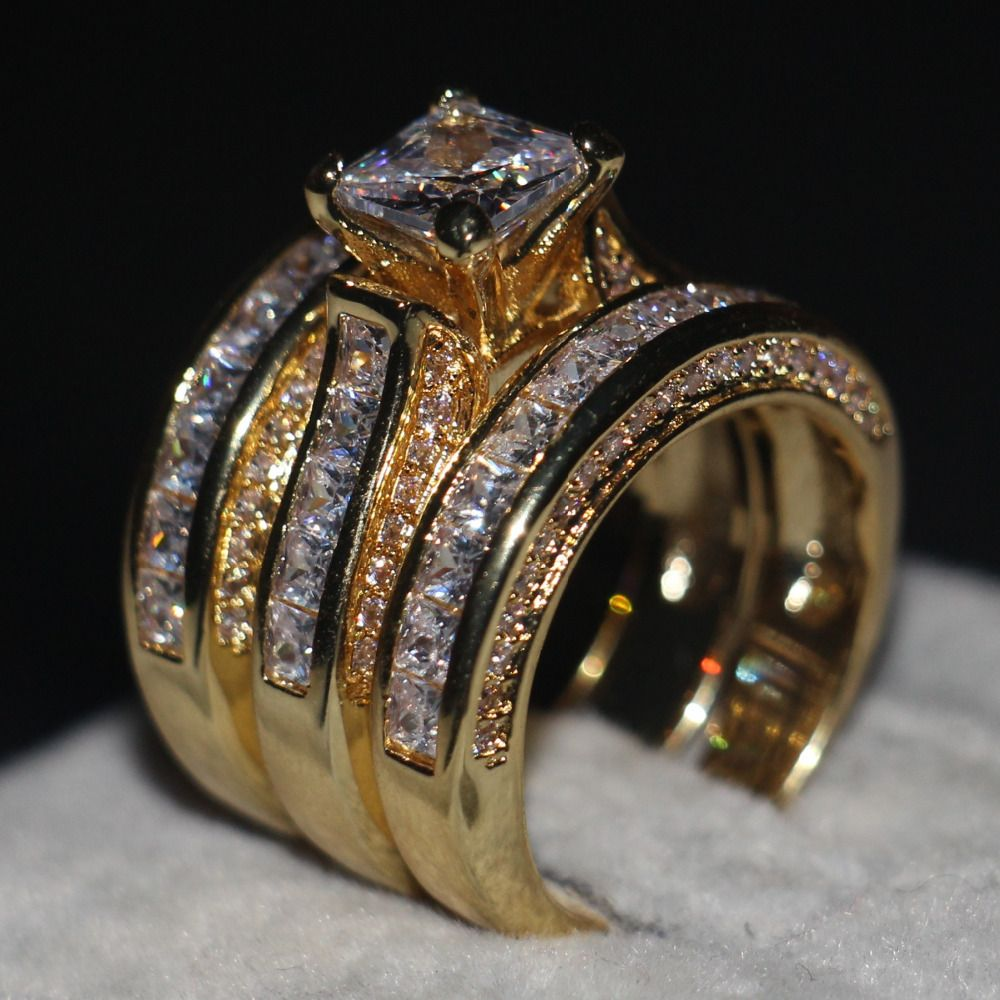 Promotion Women Men Jewelry 3-in-1 Wedding ring 14KT Yellow Gold Filled Princess cut 5A Zircon Cz Engagement Band Ring