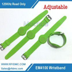 125 кГц EM4100 только для чтения RFID силиконовый браслет зеленый цвет, Группа Регулируемая Смотреть типа