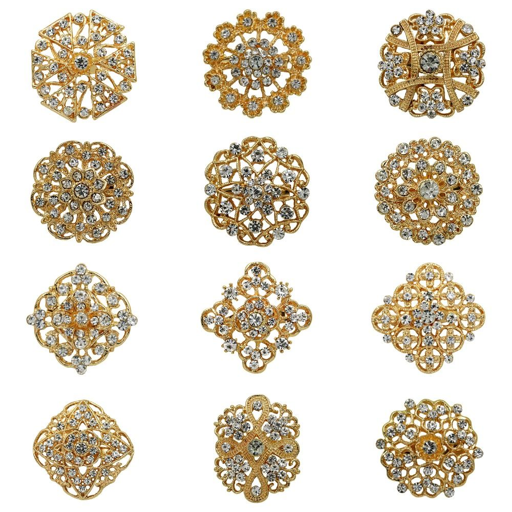 12 Pcs / Pack Clear Crystal Rhinestones and Gold Color Plated Medium Size Brooch Pins for Women or DIY Wedding Bridal Bouquets