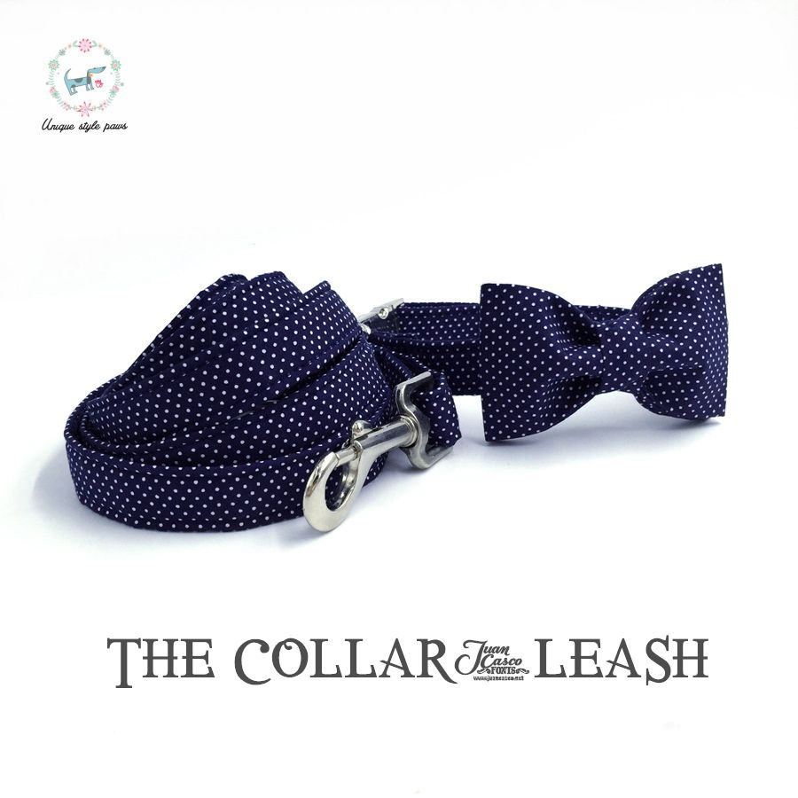 Collier de chien bleu ou laisse ensemble avec noeud papillon personnalisé réglable Pet 100% coton chien et chat collier