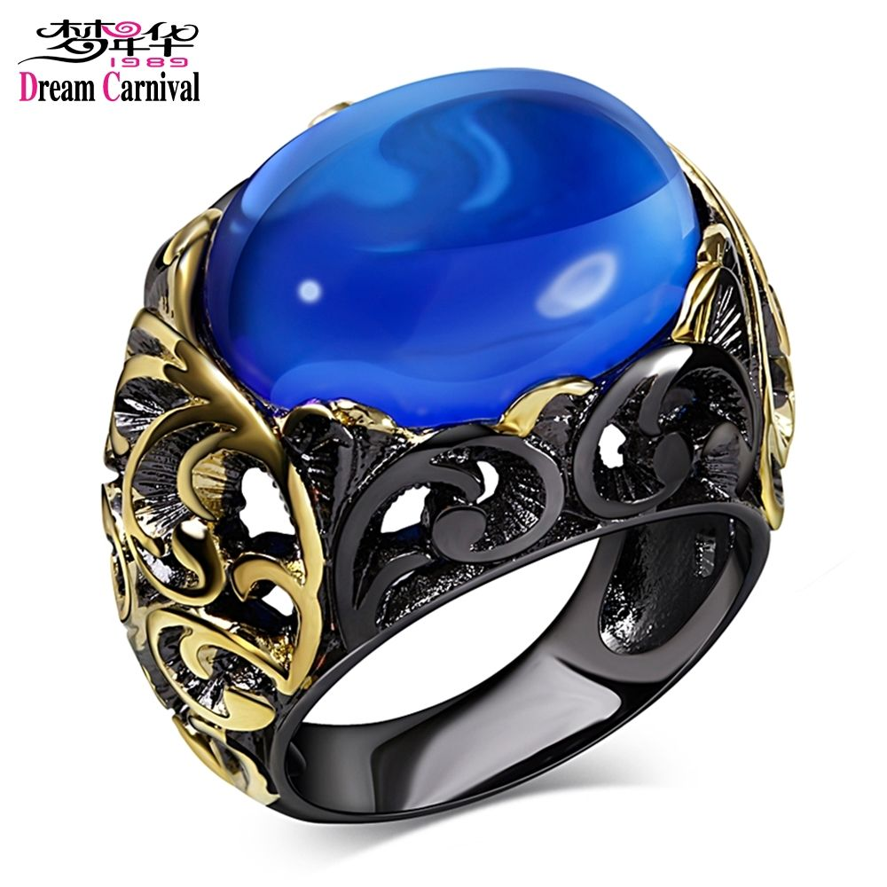 DC1989 Spanish Design Women Party Ring Black Gold-color Synthetic Blue Oval Stone Lead Free Evening Cocktail Hiphop Anillos Moda