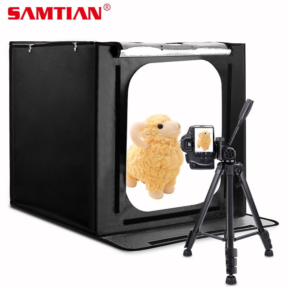 SAMTIAN F60 Light Box 60*60CM LED Lightbox Folding Softbox With Three Colors Background For Studio Photo Photography Box