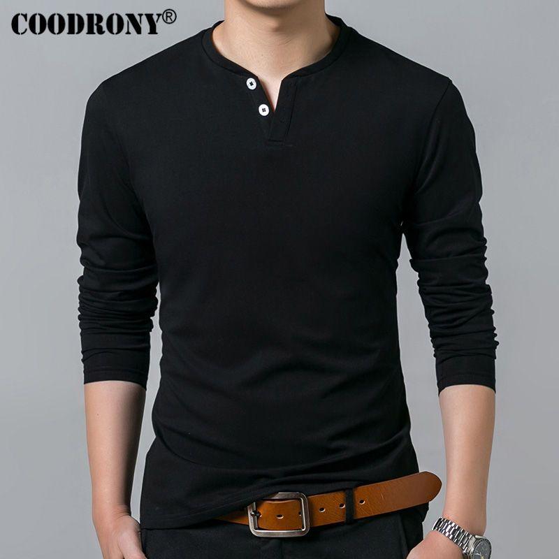 COODRONY T-Shirt Men 2018 Spring Autumn New Long Sleeve Henry <font><b>Collar</b></font> T Shirt Men Brand Soft Pure Cotton Slim Fit Tee Shirts 7625