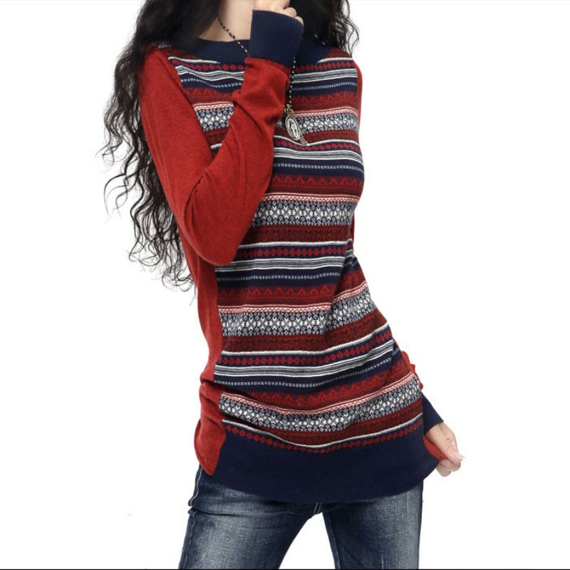 Womens Vintage Long Contrast Color Knitted Cashmere Wool Sweaters And Pullovers Ladies Spring Autumn Slim Warm Jumpers Pull Feme