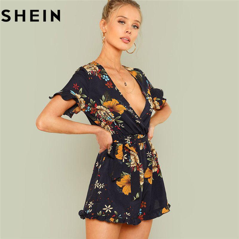 SHEIN Summer Beach Boho Print Deep V Neck Mid Waist Playsuits Women Flounce Sleeve Tie Waist Frill Trim Floral <font><b>Belted</b></font> Rompers