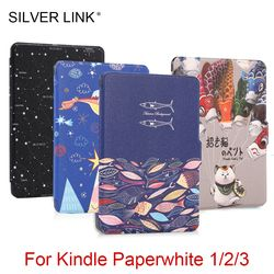 SILVER LINK 1X Multicolor Kindle Case Print PU Skin For Kindle Paperwhite 1 2 3 Slim Cover 6inch Ebook Auto Sleep/WakeUp Shell