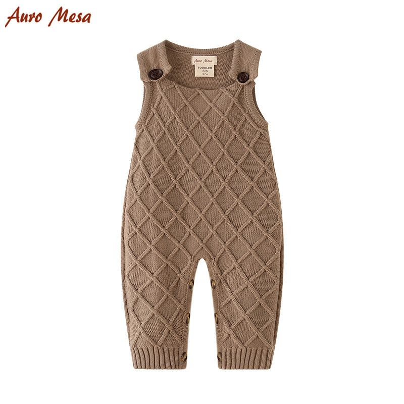 Khaki Baby Overalls  Baby Knitted Romper Sleeveless Cotton Plaid Overall Infant Onesie Playsuit