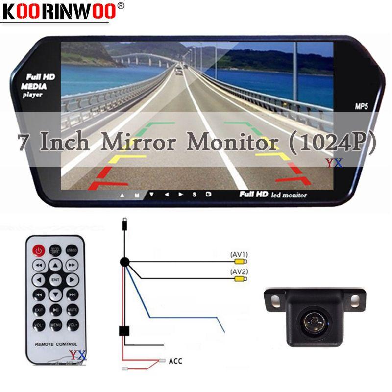 Koorinwoo HD 7 Inch TFT LCD Display 1024*600 Car Mirror Monitor Bluetooth MP5 with USB/SD Slot Rear View Camera Parking System