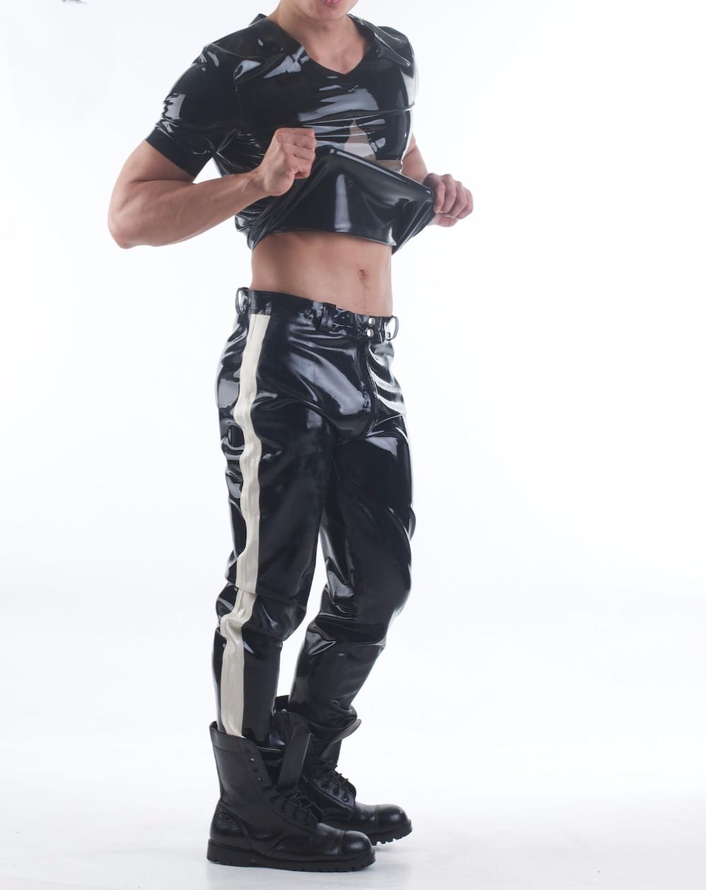 Latex Rubber Long Pants Sexy Jeans With Through Crotch Zip Black Latex Trousers With White Trim(NO TOP)