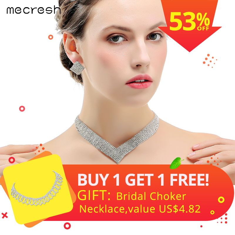 Mecresh Crystal Wedding Jewelry Sets for Women Clear Necklace Set Engagement African Beads Jewelry Sets Christmas Jewelry MTL475