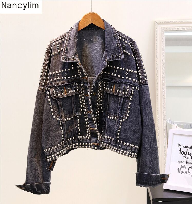Hand Studded Rivet Denim Jacket Women Loose Short Jackets Ladies High Quality Jeans Jacket Basic Coats Student Streetwear