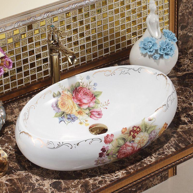 Jingdezhen keramik sanitär wc tabelle waschbecken ellipse kunst bad becken kostenloser versand