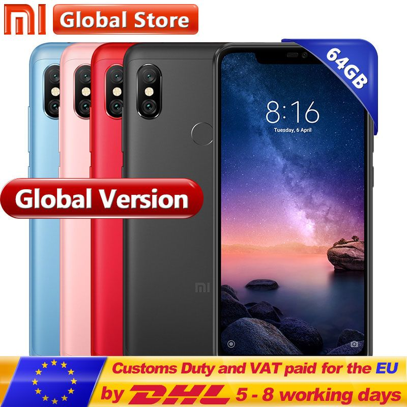 Global version Xiaomi Redmi Note 6 Pro 64GB 4GB RAM ROM Snapdragon 636 Octa Core 4000mAh Full Screen 12MP+5MP Dual Camera