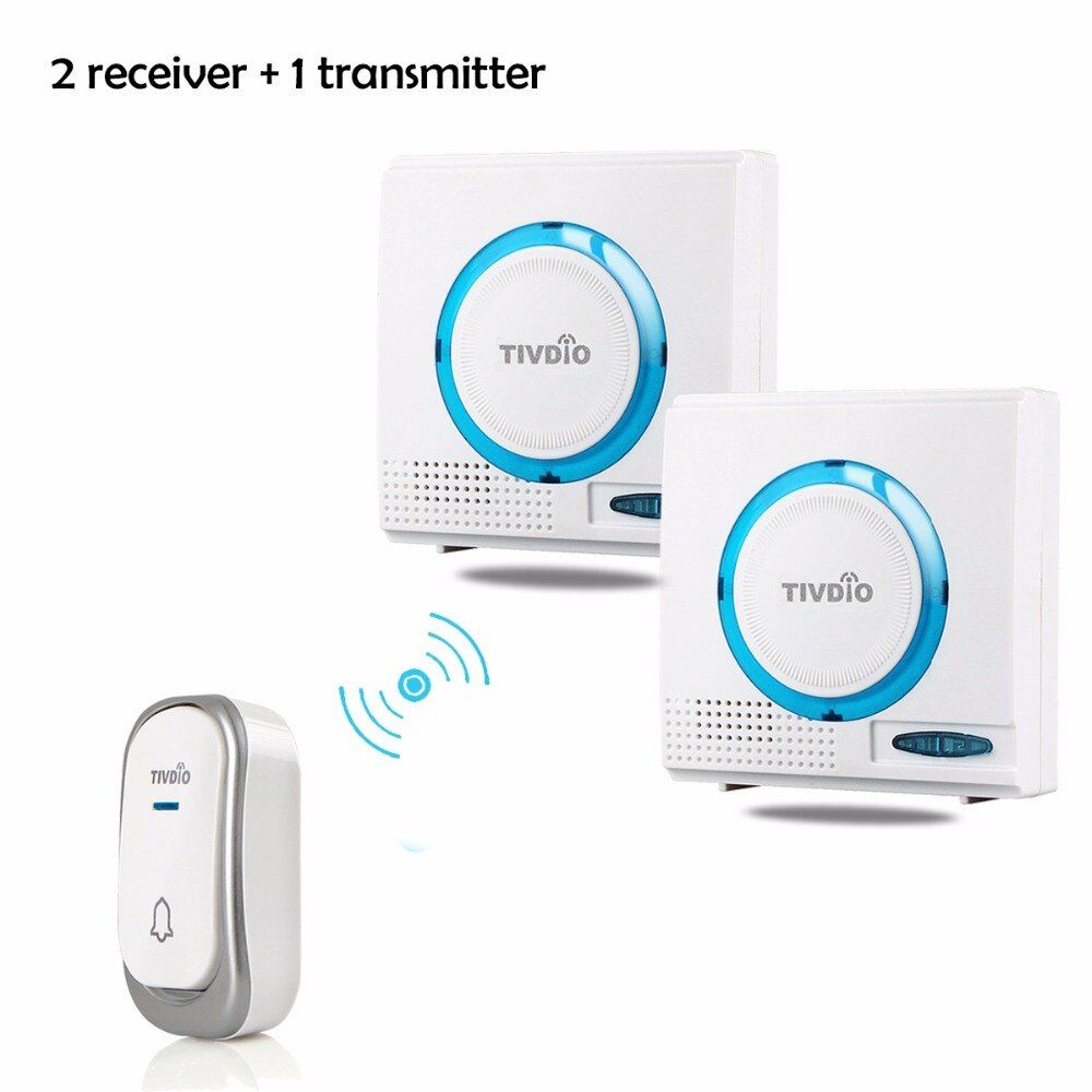 2 color TIVDIO T-802 Wireless Doorbell Battery Chime Kit Remote Button Door bell with Receiver LED Indicator F9508