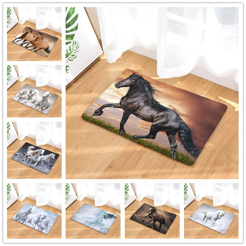 New Welcome Mats 9S tyles Horse Print Doormats Bathroom Kitchen Carpet Home Floor Mats Living Room Anti-Slip Rug 40X60 50X80cm