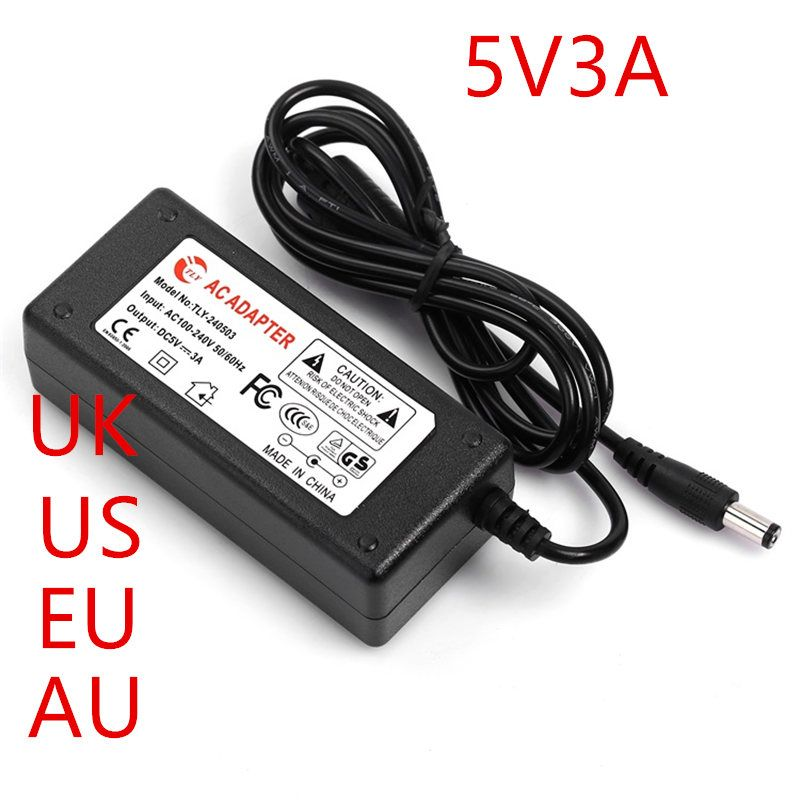 10PCS 5V power Adapter 5V 3A AC-DC 5V Adapter 5V3A AC line 1.5M + DC line 1.2M AC100-240V