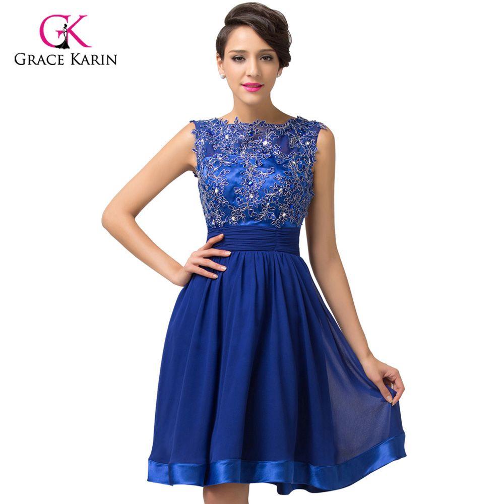 2017 luxury robe de Cocktail Dresses Grace Karin Backless Royal Blue lace Short elegant party coctail dress vestidos de coctel