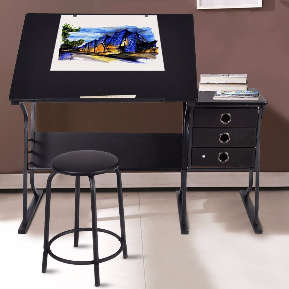 Giantex Drafting Table Modern Adjustable Drawing Desk Art Craft Hobby with Stool & Drawers Painting Furniture Set HW52825