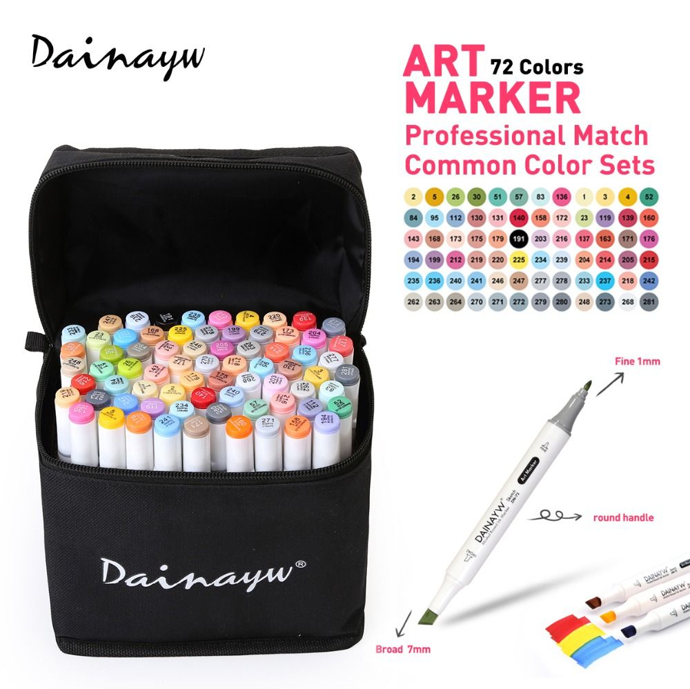 Dainayw 72 Colors Animation Art Marker Set Alcohol Based Dual Tips Sketch  Marker Pen For Drawing Manga Design Art Supplies