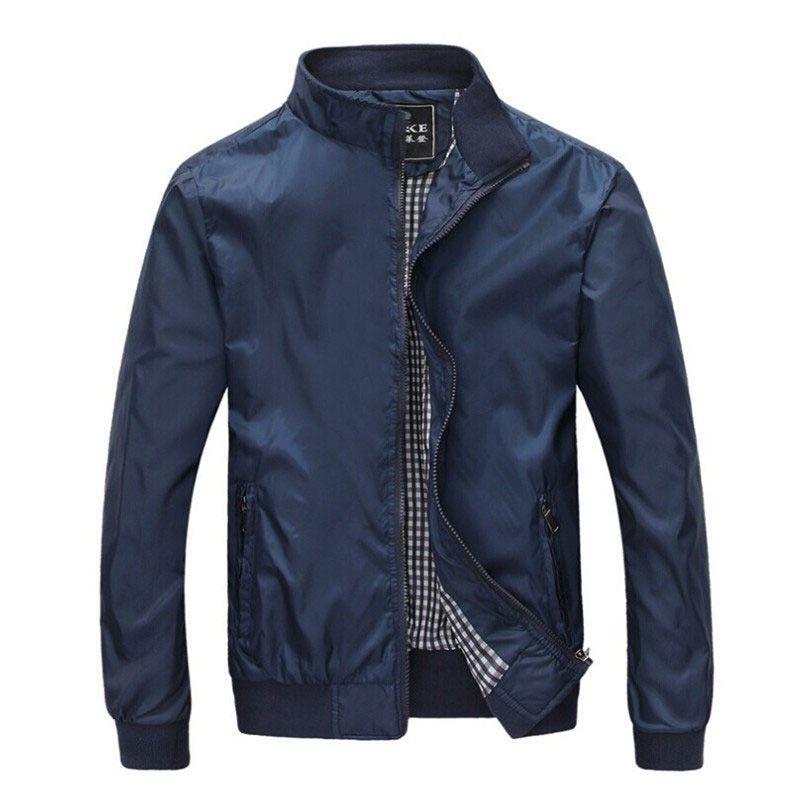 Grande taille 4XL 5XL Hommes printemps été vestes décontracté mince mâle coupe-vent collège Bomber noir Windcheater Hommes varsité veste