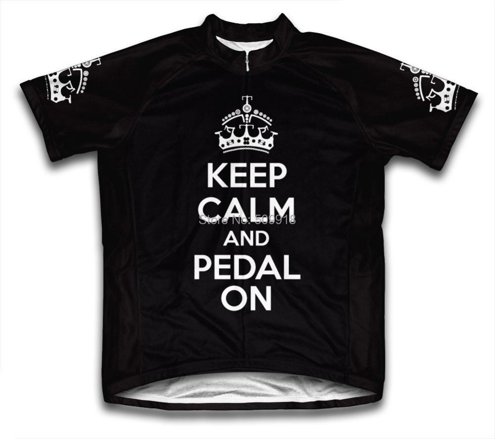 Keep Calm and <font><b>Pedal</b></font> On Men Cycling Jersey Short Sleeve bike bicycle jerseys ropa ciclismo 5 Color