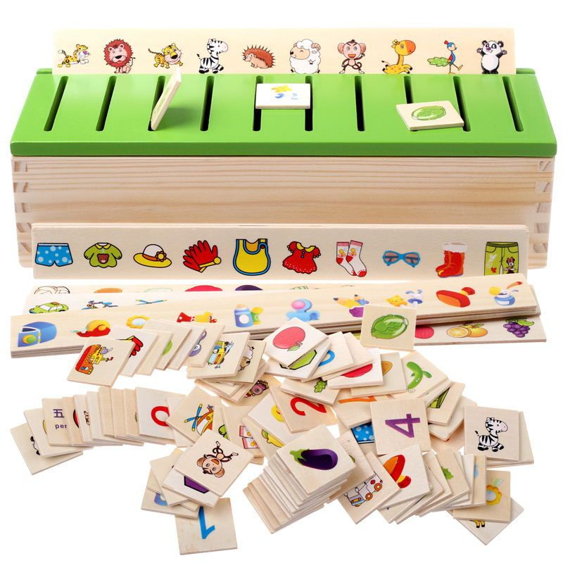 Montessori Early Educational Puzzles Toys for Children Intelligence <font><b>Learning</b></font> Puzzle Wooden Creature Cartoon 3D Puzzle WJ863