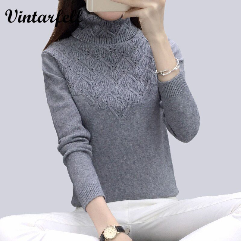 Vintarfell Sweaters And Pullovers For Women 2017 Autumn Winter Solid Turtleneck Knitwear Female Casual Elastic Loose Coat <font><b>Femme</b></font>