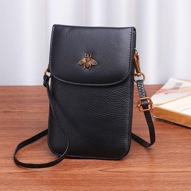 Véritable cuir femmes sacs de téléphone Mobile mode petit changement sac à main femme tissé boucle sacs à bandoulière Mini Messenger sac noir