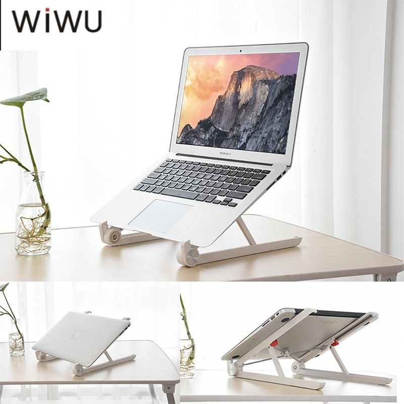 WIWU Laptop Stand Holder Mount Adjustable Angle Portable Folding Laptop Lapdesk Office Ergonomic Notebook Stand For All Laptop