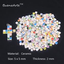526 Buah/Bungkus Mikro 5 Mm Keramik Ubin Mosaik, Ketebalan: 2 Mm DIY Hobi Kerajinan Bahan. Diy Mini Kecil Porselen Ubin Mosaik