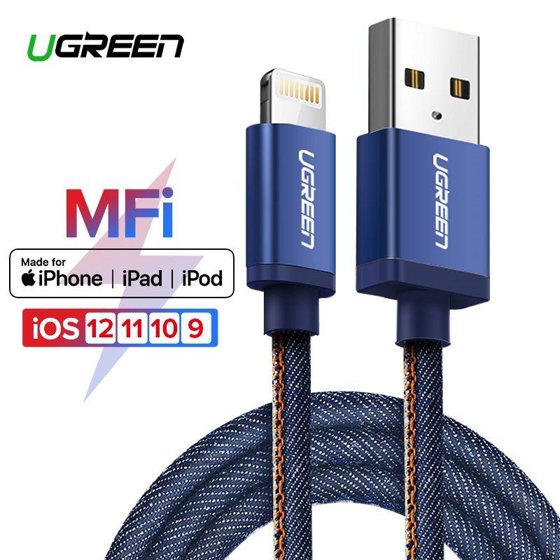 Ugreen MFi Foudre Câble Pour iPhone 7 Denim Tressé 8 Broches USB Câble rapide Chargeur Câble de Données pour iPhone 8 8 Plus 6 5 iPad Câble